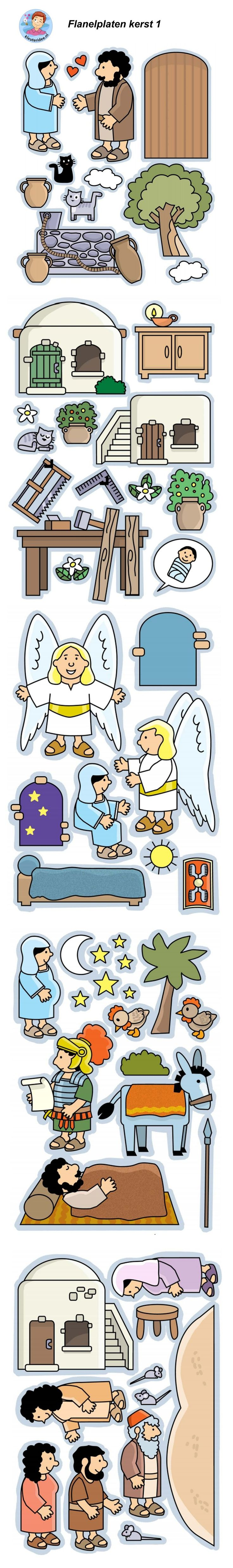 Kerst, de geboorte van Jezus, flanelplaten voor kleuters 1, kleuteridee.nl ,Christmas nativity, Flannel Bible Sheets, free printable