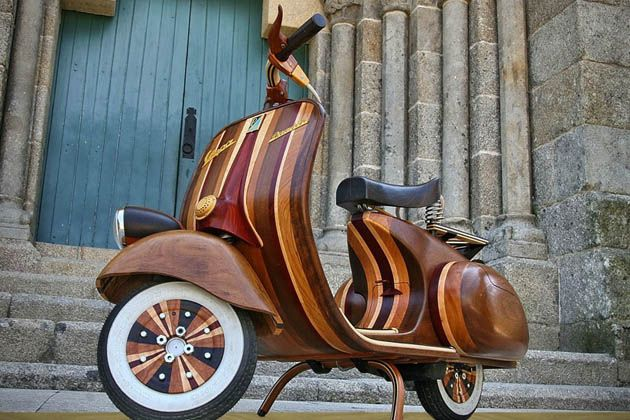 Hand Crafted Fully Functional Wood Vespa