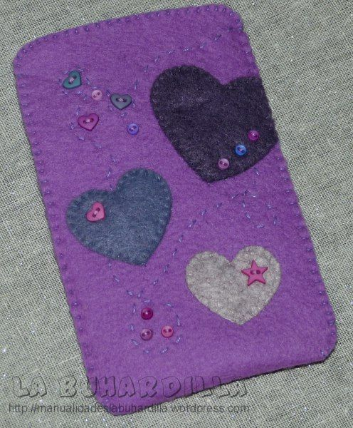 funda movil lila, fieltro, felt