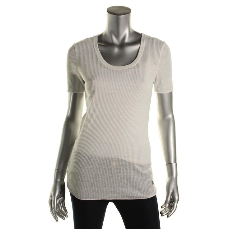 Adriano Goldschmied Womens Sheer Ribbed T-Shirt