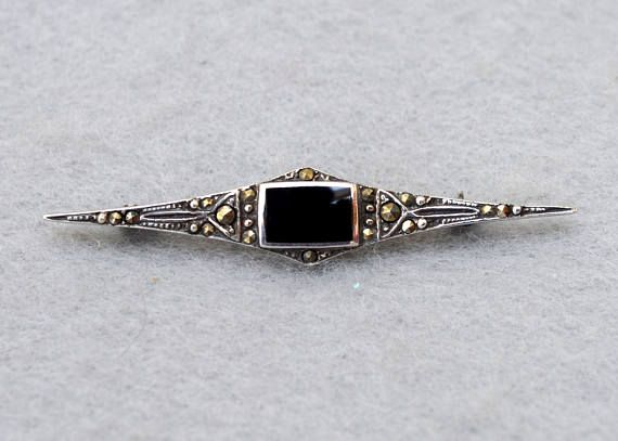 Sterling Silver Marcasite and Onyx Bar Pin Vintage