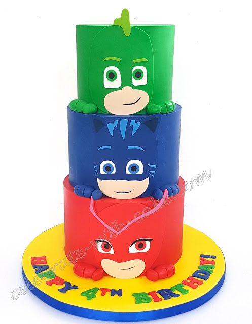 Celebrate With Cake Pj Mask 3 Tiers Pj Masks Birthday