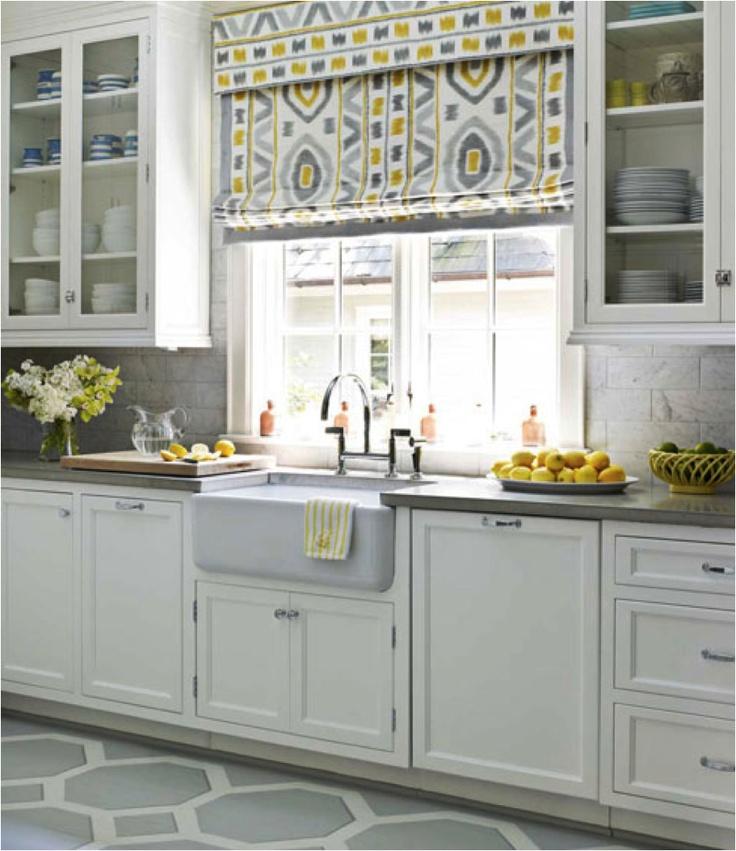 Gray Yellow White Kitchen: White Kitchen With Grey & Yellow