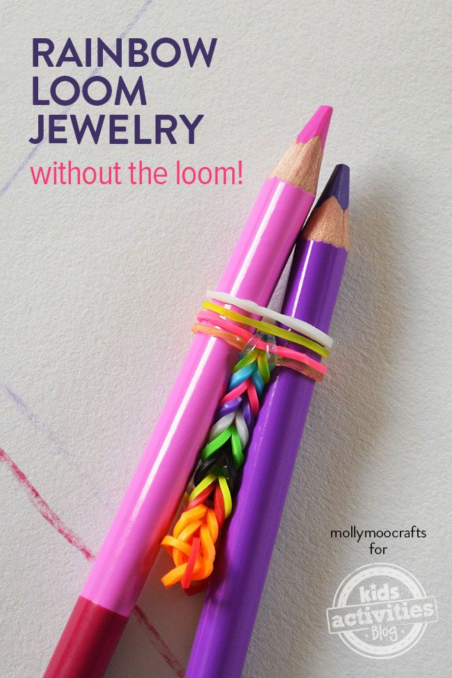 Make Rainbow Loom Jewelry Without The Loom - easy and cool, simple for beginners. By MollyMooCrafts.com for #KidsActivitiesBlog