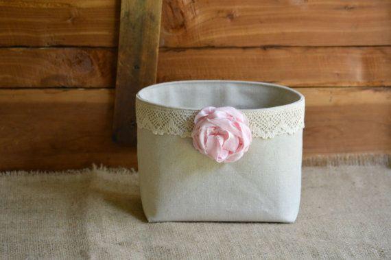 """Shabby chic Pink & Lace Canvas Storage Basket Organizer Tissue box Holder Nursery Decor Bin  6"""" x 7"""""""