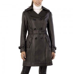 Elegant Trench Long Sheep Leather Coat For Women | Leather Jackets USA