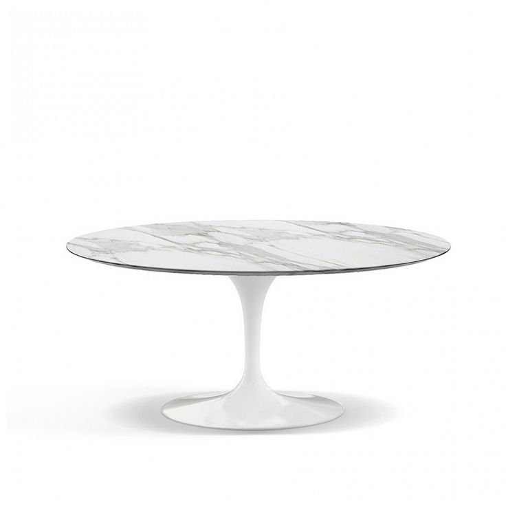 Round coffee table with marble top inspired by E. Saarinen