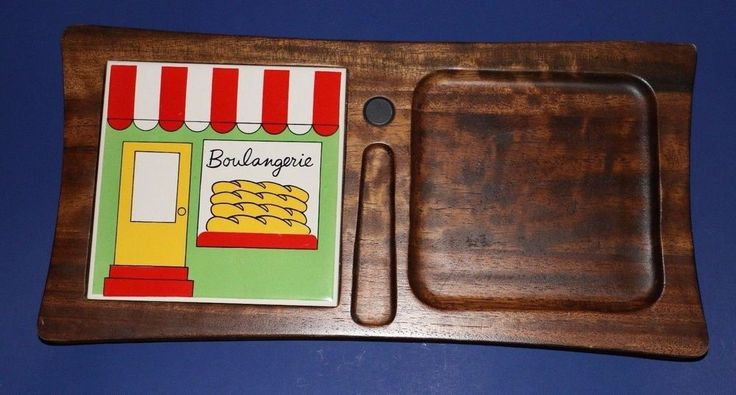 Boulangerie Wood and Ceramic Tile Bread & Cheese Cutting Board