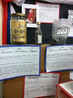"some homemade 'tea"" artifacts from the Revolutionary War...kids create them on their own to begin our unit on the American Revolution"