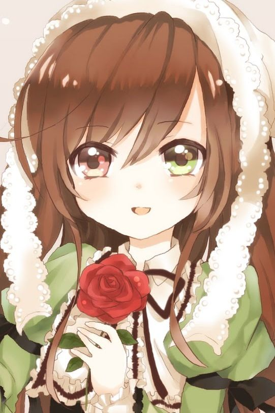 Anime little girl with brown hair and green eyes