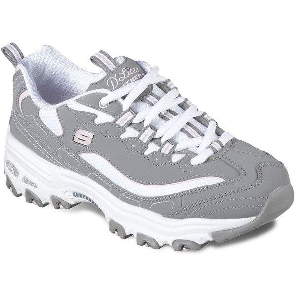 Skechers D'Lites Biggest Fan Women's Athletic Shoes (€49) ❤ liked on Polyvore featuring shoes, athletic shoes, beige, shock absorption shoes, light weight shoes, nubuck shoes, nubuck leather shoes and fleece-lined shoes