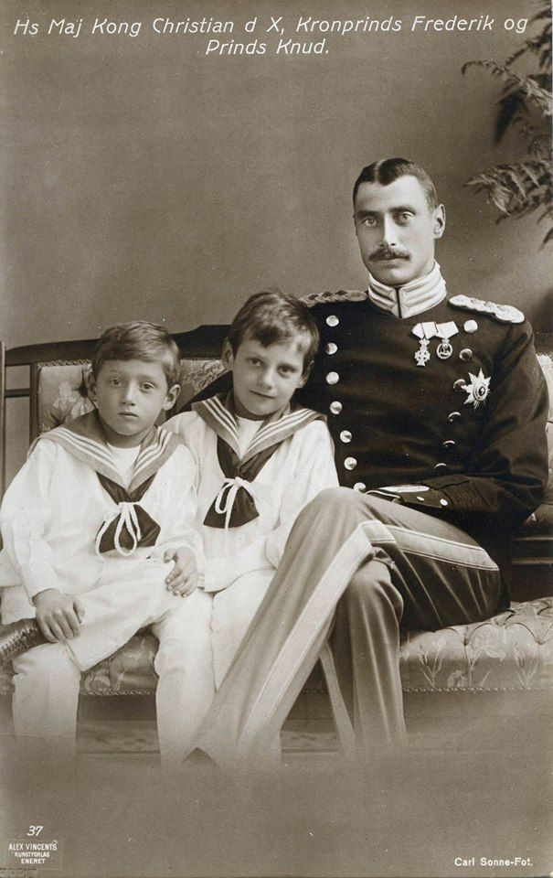 King Christian X of Denmark with his two sons From left: Prince Knud of Denmark, the future King Frederik IX, King Christian X