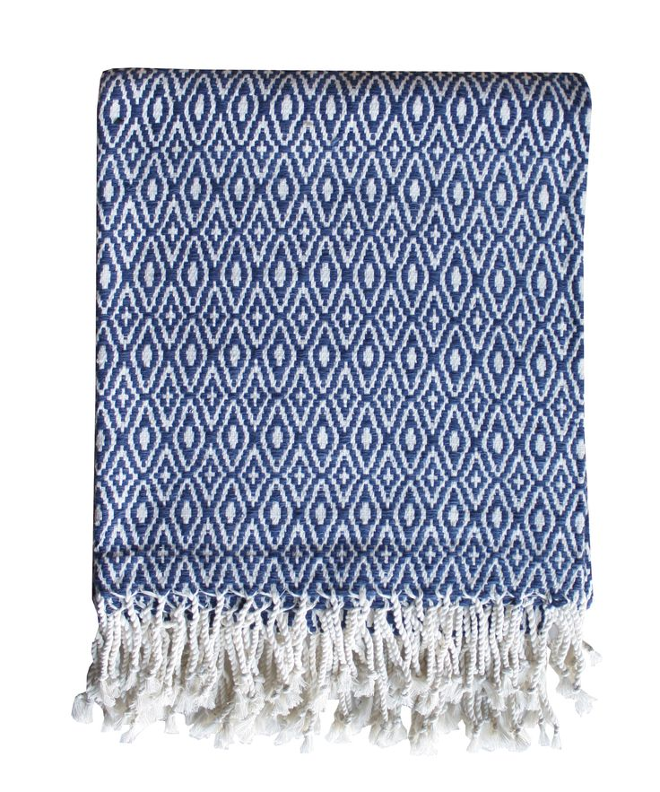"- Diamond Weave Throw Blanket, Navy & White - 100% cotton, diamond weave pattern - rope tied fringe - measures 50"" x 60"""