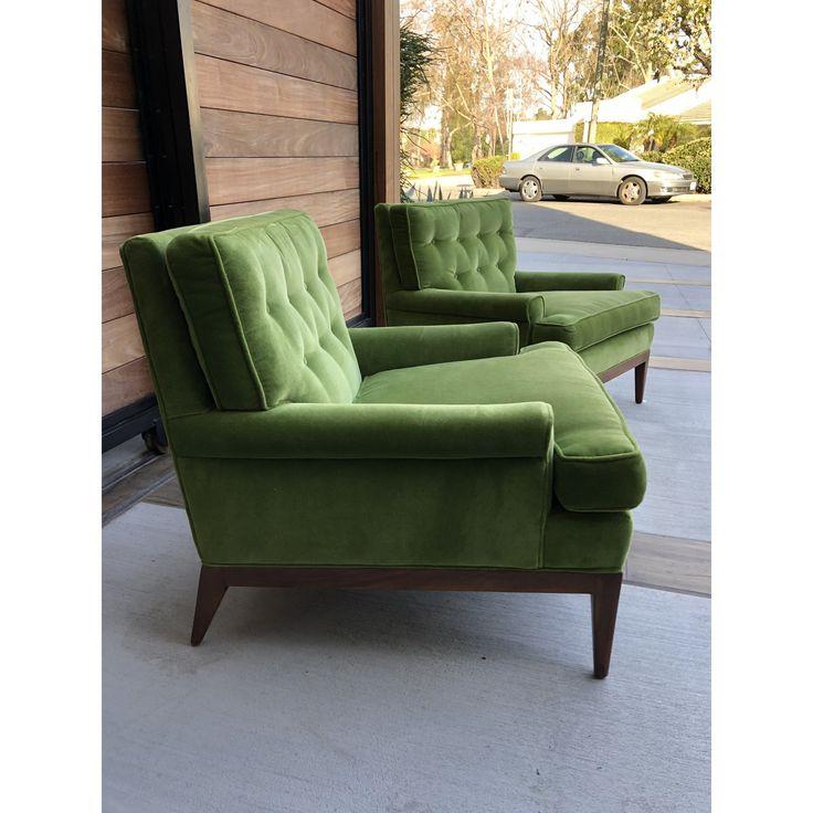 Mid-Century Green Velvet Lounge Chairs- a Pair   Chairish