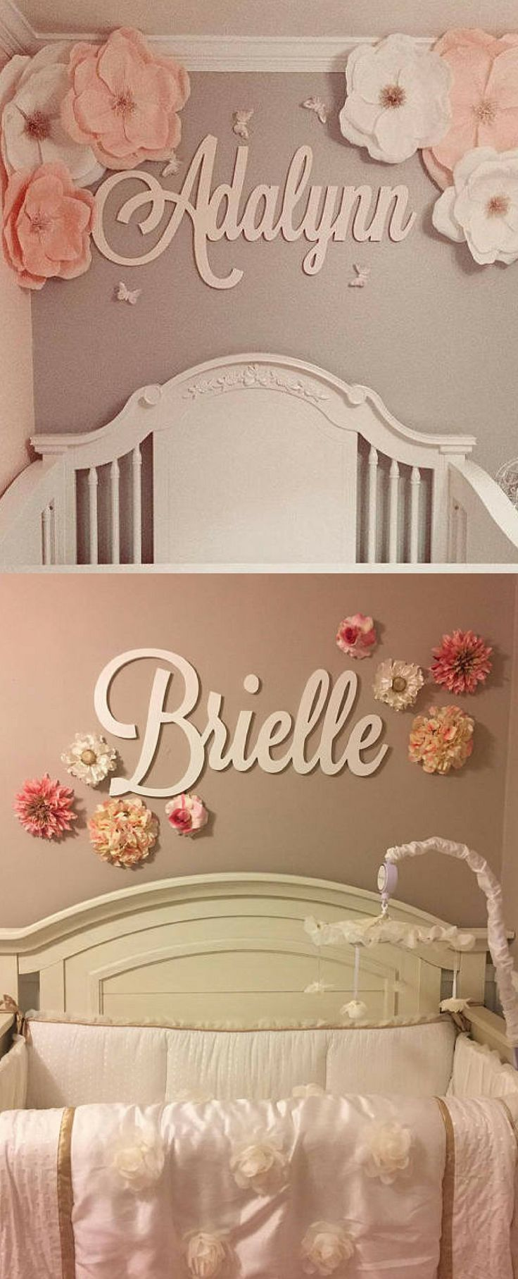 Cool cursive decal! This is a great idea for name décor for my baby girl's nursery ♡ Maybe I could DIY this wood sign… But this one is $14+! #ad