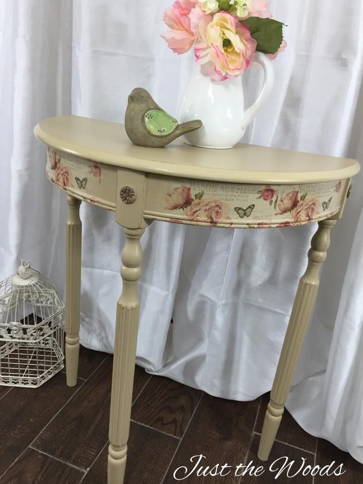 Hand Painted Dainty Cream And Floral Print Accent Table