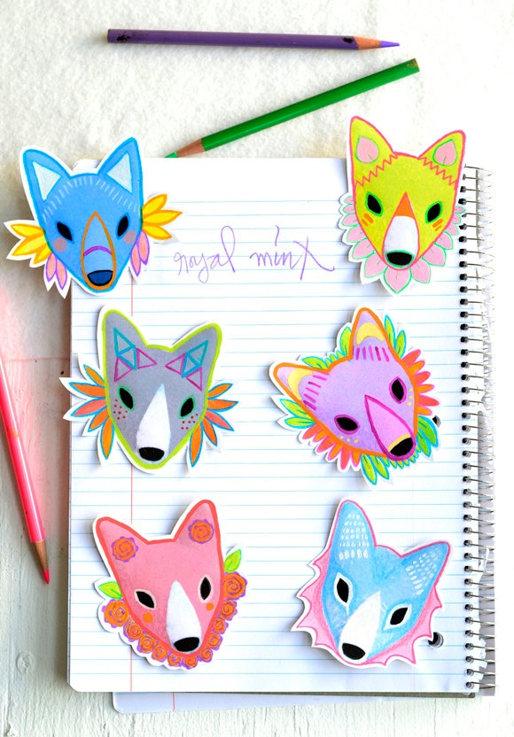 blue fox sticker - art sticker