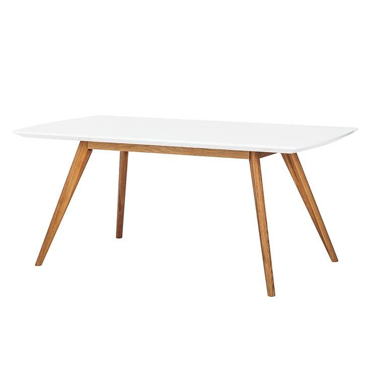 Eettafel Lindström - hoogglans wit/massief eikenhout