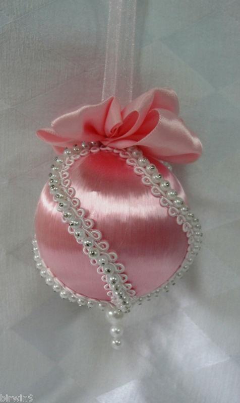 Handmade Christmas Tree Ornament Beaded Pink Satin Pearls