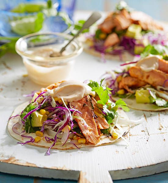 Salmon tacos: Hop on the Mexican bandwagon and drive it all the way home with these simply sensational tacos.