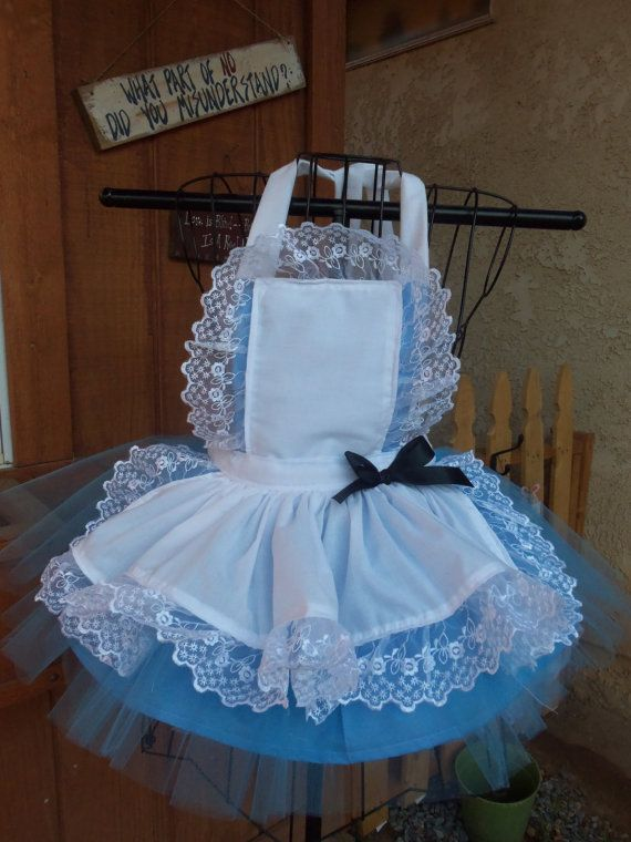 Ready to ship now. Alice in Wonderland Apron set Apron, Blue Tutu, Black hair Bow. ONLY 1 size 5/6 ONLY