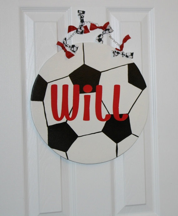 Soccer Ball Sports theme Door Hanger by aWhimsicalWelcome on Etsy, $28.00