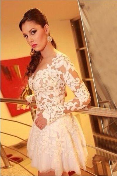 long sleeve white lace dress mini | Gommap Blog