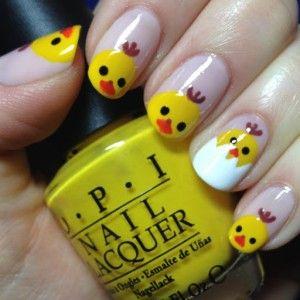 Uñas decoradas con pollos, encuentra más diseños en http://www.1001consejos.com/unas-decoradas-para-pascua/