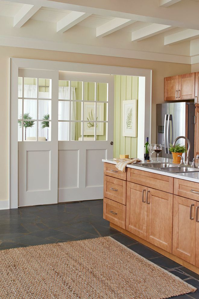 Social Security Office Fayetteville Nc Inspiration of Contemporary Kitchen with Medium Wood Cabinets White Beams White Countertop White Sliding Door Yellow Walls