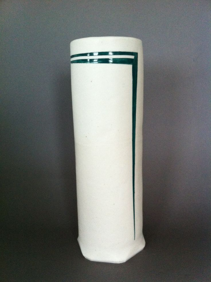 Linear Variations. Hand-built Porcelain Vase. Electric fired. Private collection.