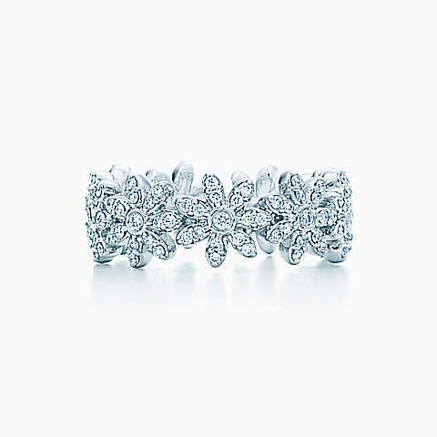 f49750cab034 Tiffany Metro daisy band ring in 18k white gold with pavé diamonds ...