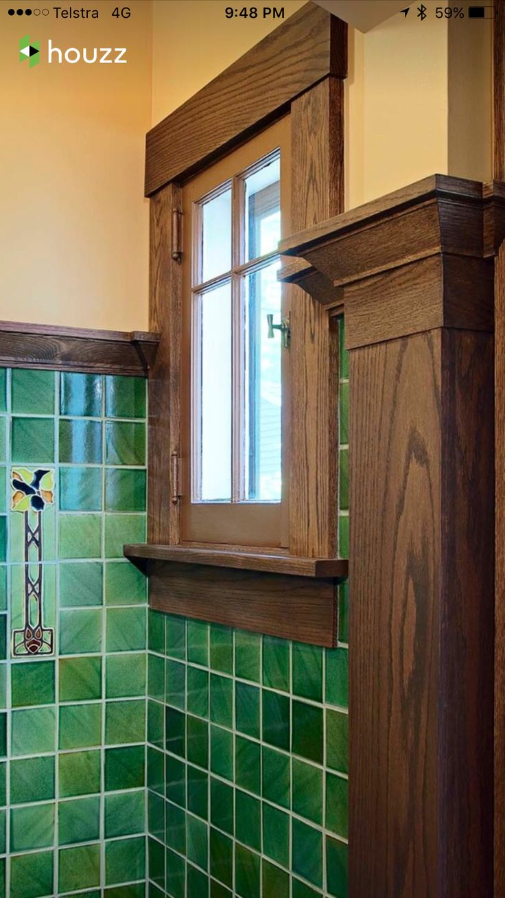 Arts and crafts bathroom tile - Kirkman Bathroom Craftsman Bungalow