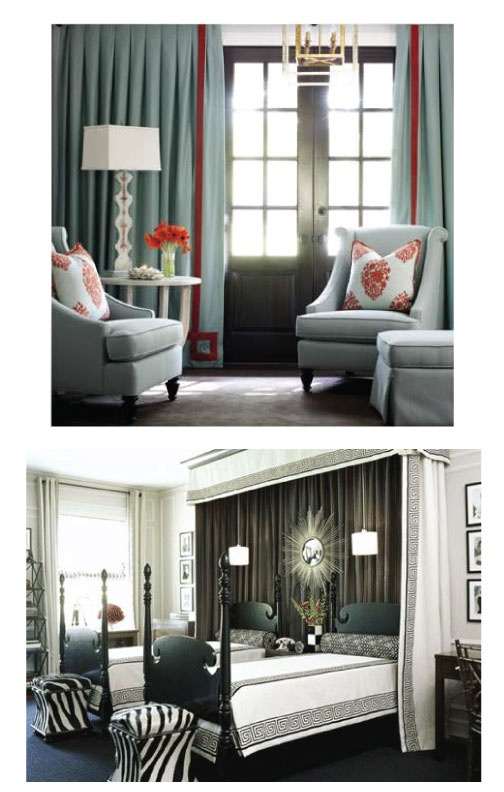 Great Draperies and bedding treatmentDesign Collection, Bedding, Drapery Ideas, Chairs, Beautiful Interiors, Drapery Treatments, Interiors Design, Beds Treatments, Bedrooms Decor