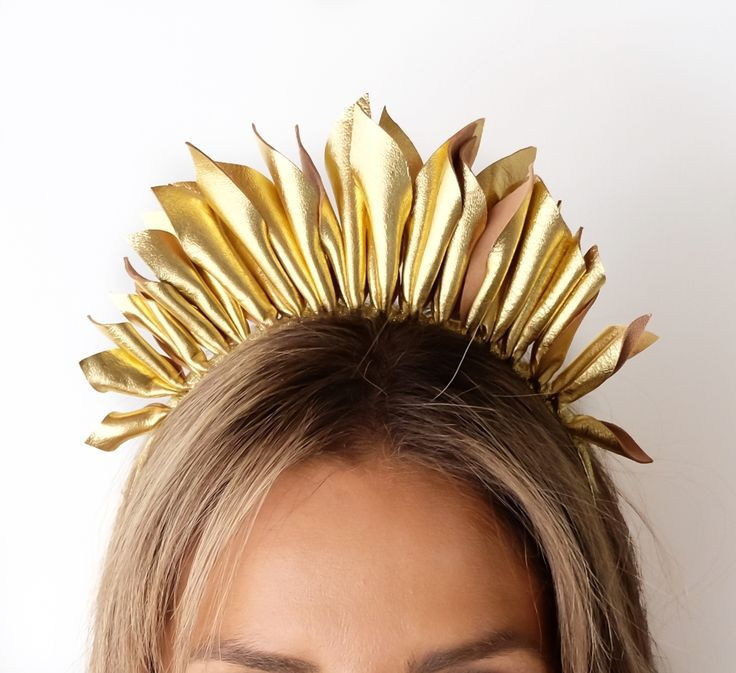 MINT AND MELON LEATHER HEADPIECE Gold Leather Headpiece Day-Break for Spring Races 2017