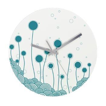 Frameless Wall Clock blue flower By Elisa Viotto Arte