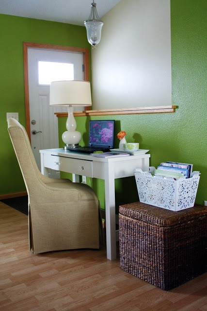 like this small desk and basket.  just a bit more rustic would fit my style better.