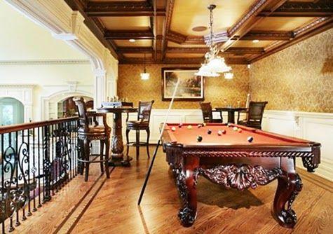 Modern Billiard Room Design Ideas with Chandelier Lighting