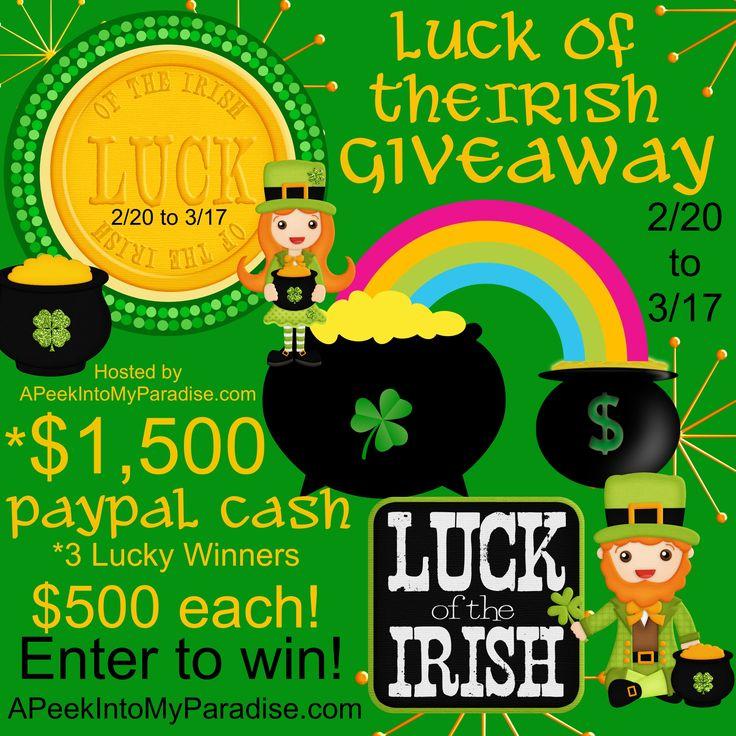 Luck of the Irish Giveaway   APeekIntoMyParadise.com #paypalcash #cash#stpatricksday
