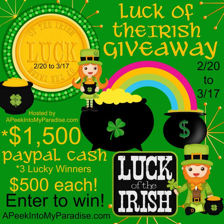 Luck of the Irish Giveaway | APeekIntoMyParadise.com #paypalcash #cash#stpatricksday