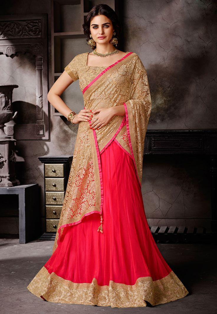 Coral and gold #Lehenga. Indian fashion.