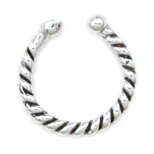 Sterling Silver 925 Bali Ear Cuff Twisted Design with Bead
