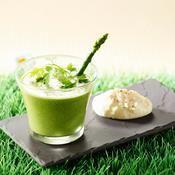 Recette crème d'asperge verte glacée et chantilly au comté