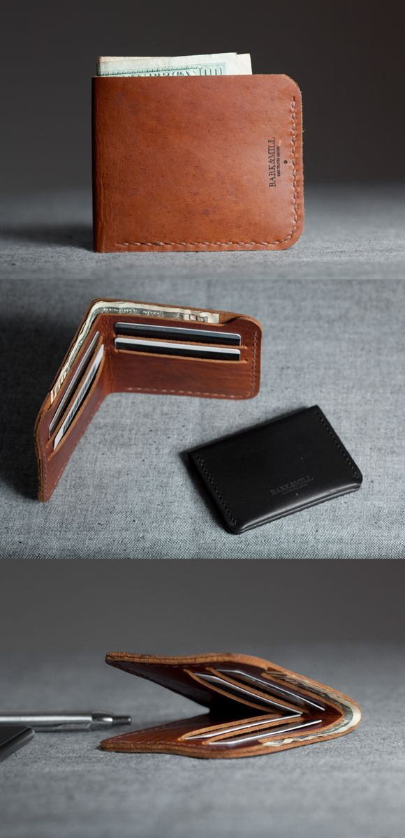 Bark and Mill's slim bi-fold wallet . Hand crafted leather product.