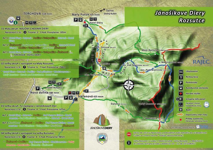 Mapa a trasy Jánošíkove Diery