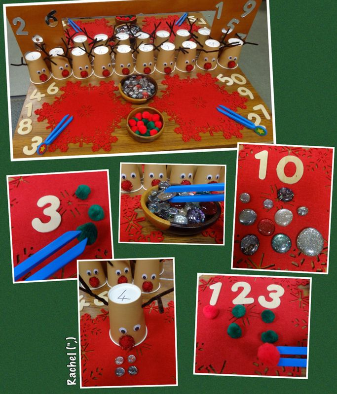 """Reindeer Games"" Fine Motor Counting Fun (from Rachel, Stimulating Learning)"