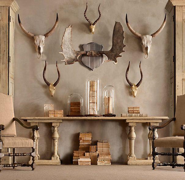 Horns in Cast Resin: Decor, Skull, Idea, Restoration Hardware, Living Rooms, Horns, Antlers, Deer Head, Men Caves