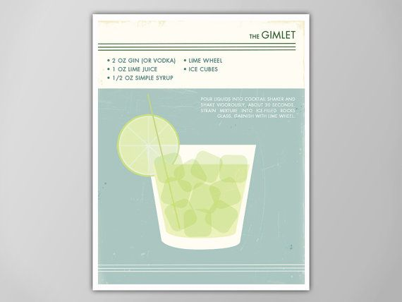 Gimlet Cocktail Art Print, Food and Drink Poster, Gimlet Cocktail, Cocktail Art, Gimlet Art Print, Gimlet Poster, Cocktail Poster, Cocktail