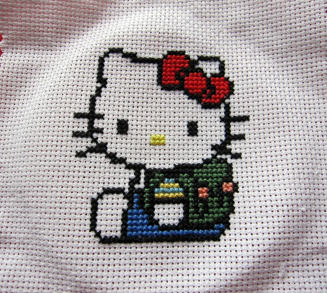 Erin...with lots more on this site   Hello Kitty: cross stitch by OrangeZoo, via Flickr