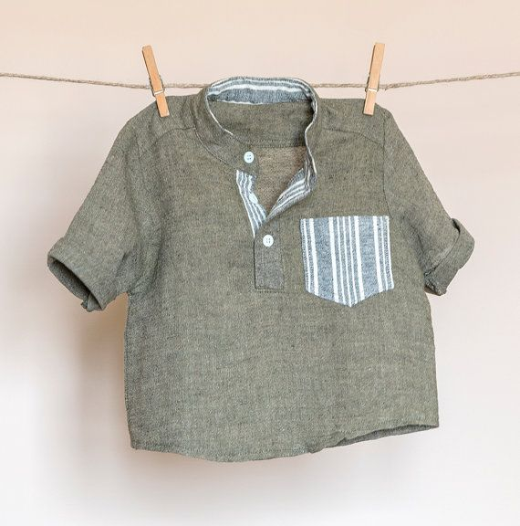 Boys natural linen-cotton short sleeved olive by TheElfShopDesigns