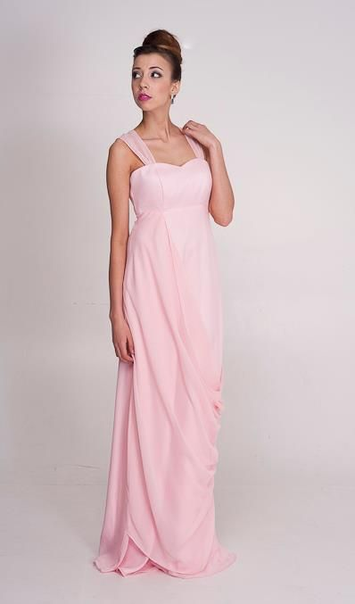 Claire: Grecian dress with drape and soft train at the back. Perth bridesmaid and ball dresses.